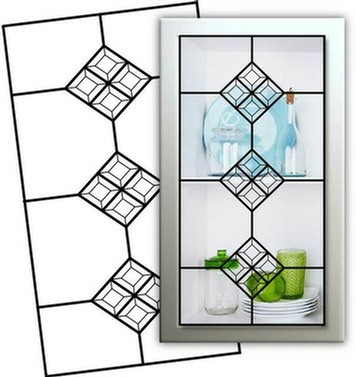 Kitchen Cabinet Glass Insert Design L-500-H using clear glass  and clear square bevels so that items displayed in the cabinet are more transparent